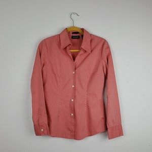 New York & Co Peach Button Down Stretch Top